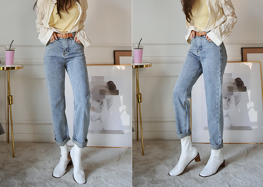 Belt pocket denim pants