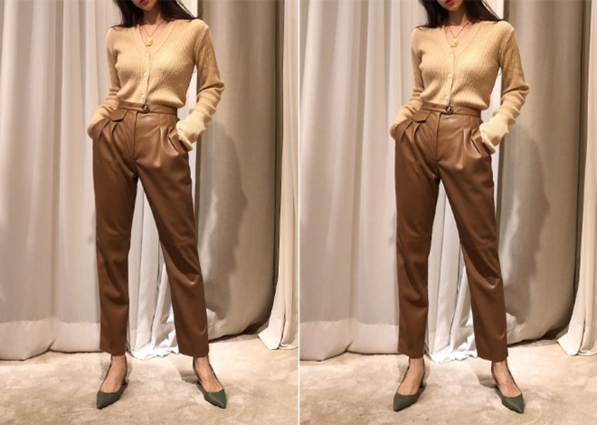 Eco soft leather pants *[Camel Brown]