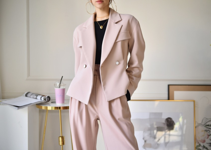 Volume crop jacket *[pink]
