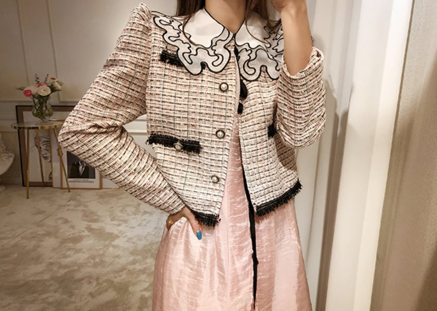 Pink tweed jacket