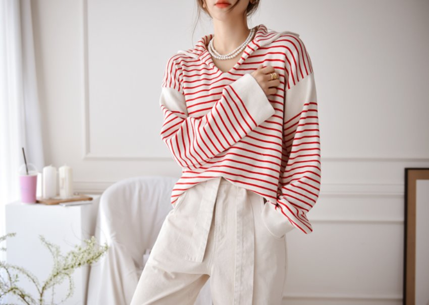 Flanders stripe knit *[red]