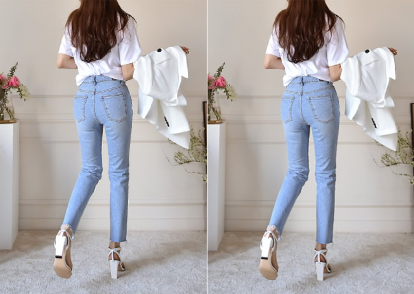 Milky denim pants