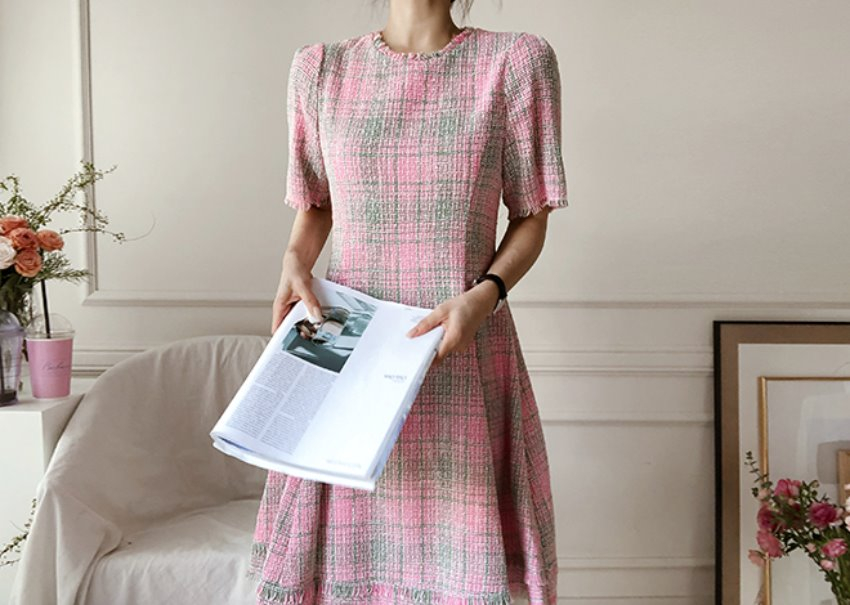 Linen tweed dress