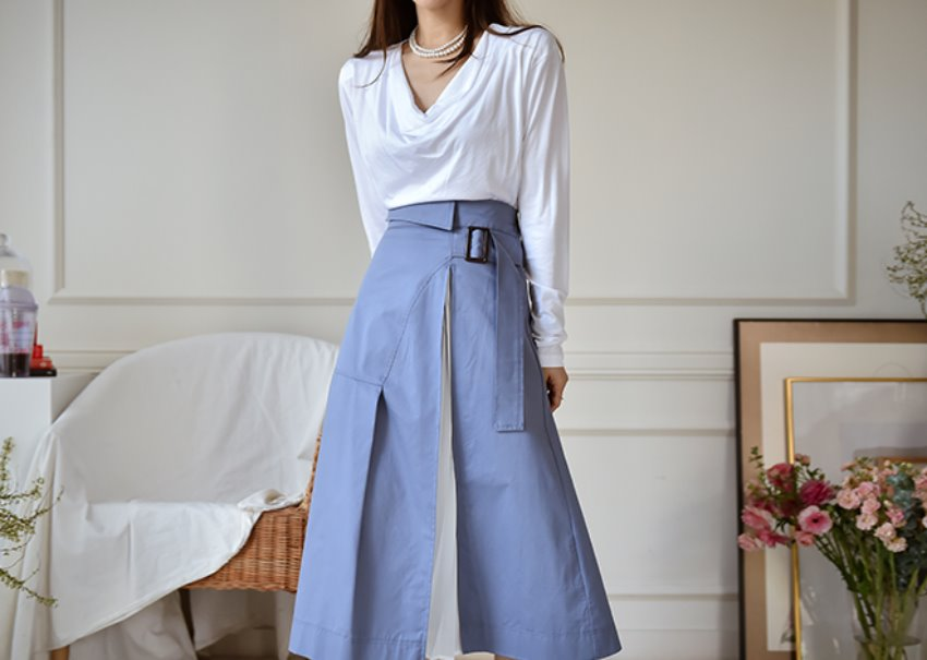 Belt pleats skirt