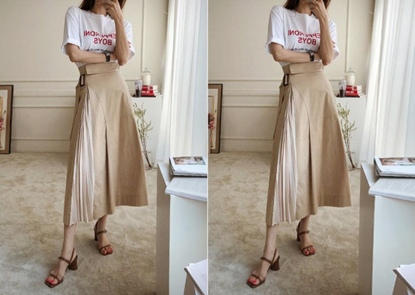 Belt pleats skirt *[beige]