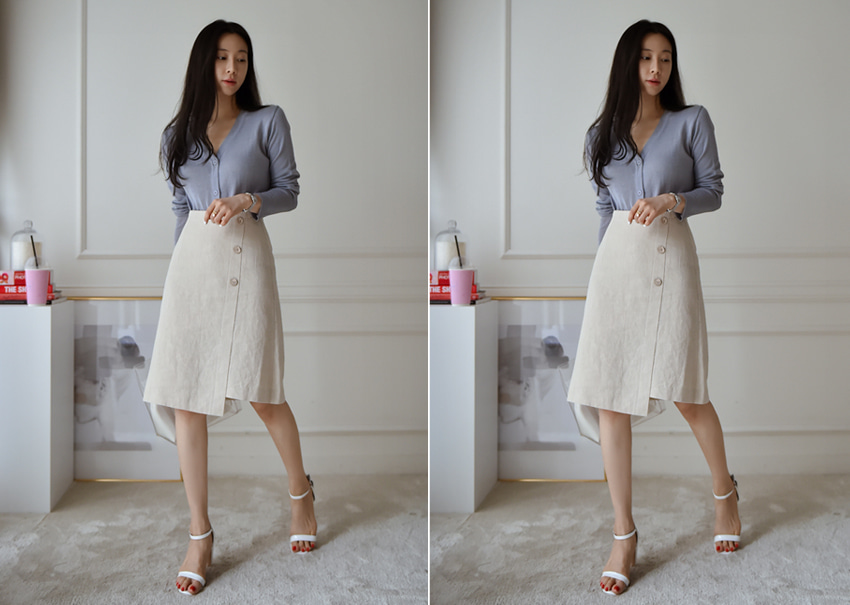 Button linen skirt
