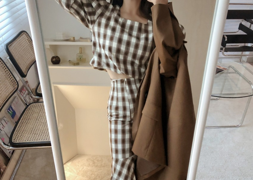 Loen Check Two-Piece *[brown]