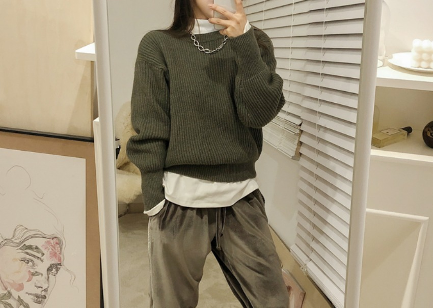 Morgan wool knit *[khaki]