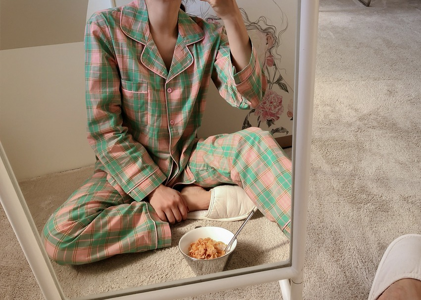 Melon check pajamas