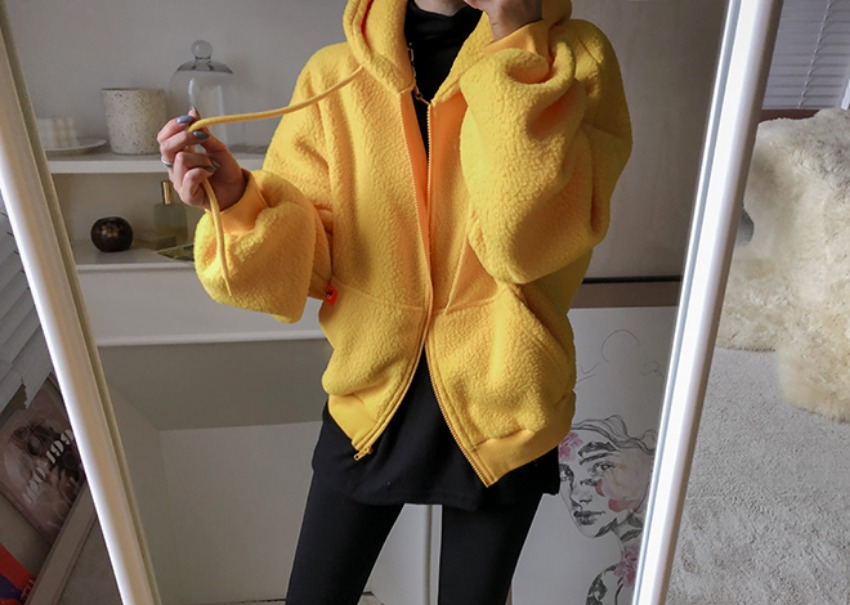Mellow fleece hood *[yellow]