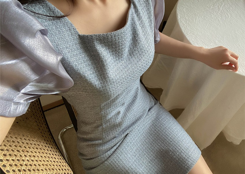 Shiny tweed dress