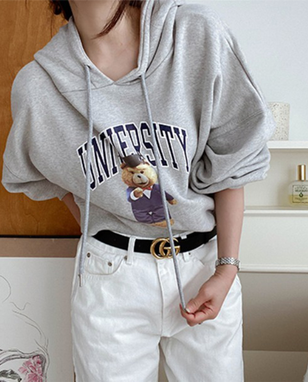 Bear Hood Sweatshirt *[Gray]