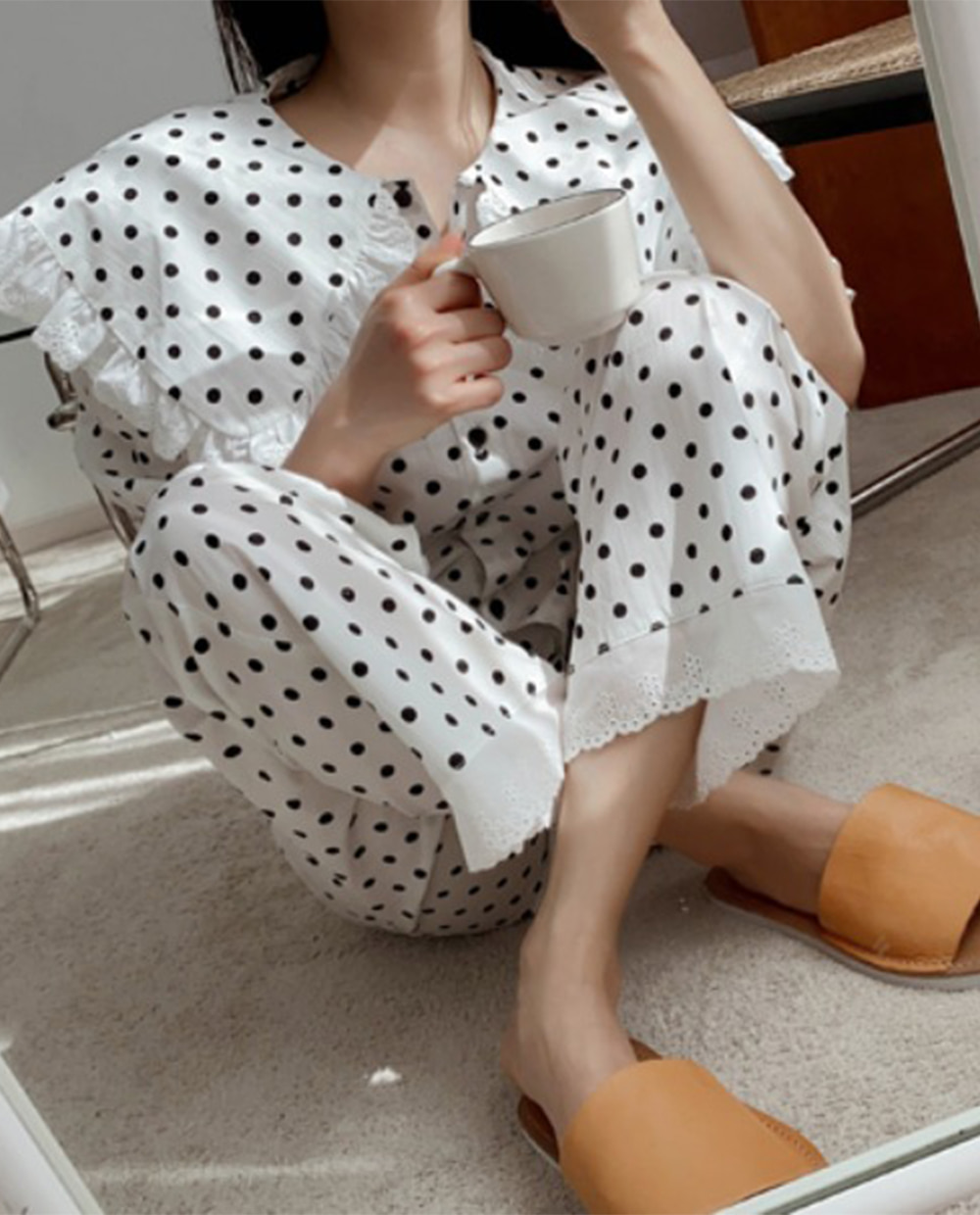 Amelie dot pajamas *[White]